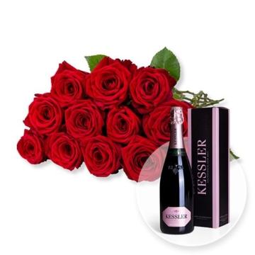 12 langstielige rote Premium-Rosen und Kessler Rose Sekt