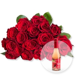18 rote Fairtrade-Rosen und Alkoholfreier Erdbeer-Secco