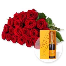 20 langstielige rote Premium-Rosen und Champagner Veuve Clicquot