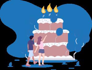 Geschenke, Zwei Personen vor einer großen Geburtstagstorten und viele Luftballons