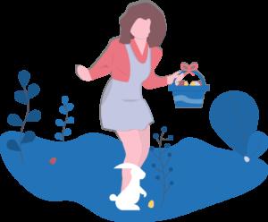 Geschenke, Frau mit Korb vor einem Hasen bei der Ostereier Suche auf einer Wiese