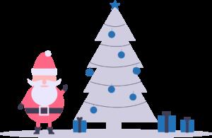 Geschenke, Weihnachtsmann neben einem Weihnachtsbaum mit Geschenken