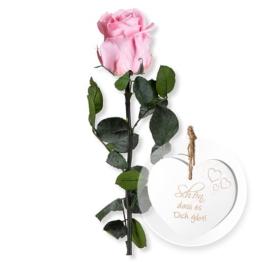 Rosafarbene Infinity-Rose und Vintage-Herz Schön, dass es Dich gibt!