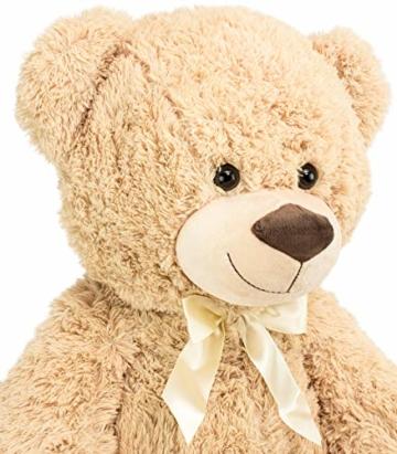 BRUBAKER XXL Teddybär 100 cm groß Beige mit einem Ich Liebe Dich Herz Stofftier Plüschtier Kuscheltier - 2