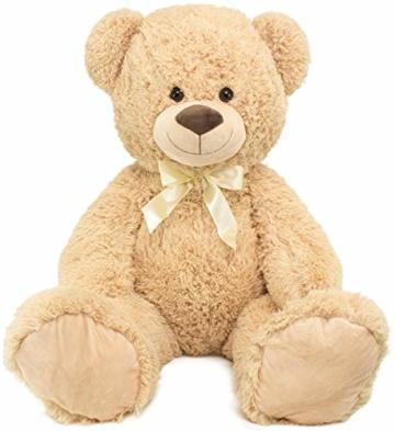 BRUBAKER XXL Teddybär 100 cm groß Beige mit einem Ich Liebe Dich Herz Stofftier Plüschtier Kuscheltier - 3