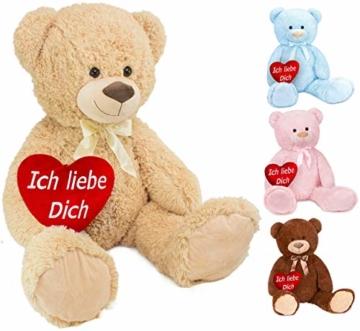 BRUBAKER XXL Teddybär 100 cm groß Beige mit einem Ich Liebe Dich Herz Stofftier Plüschtier Kuscheltier - 1