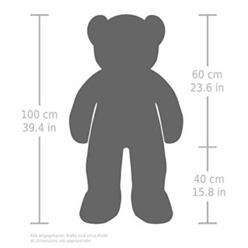 BRUBAKER XXL Teddybär 100 cm groß Beige mit einem Ich Liebe Dich Herz Stofftier Plüschtier Kuscheltier - 5