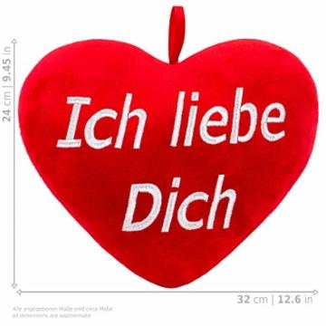 BRUBAKER XXL Teddybär 100 cm groß Beige mit einem Ich Liebe Dich Herz Stofftier Plüschtier Kuscheltier - 6