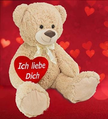 BRUBAKER XXL Teddybär 100 cm groß Beige mit einem Ich Liebe Dich Herz Stofftier Plüschtier Kuscheltier - 7