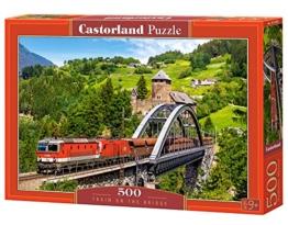 Castorland B-52462 Puzzle Train on The Bridge, 500 Teile, Bunt - 1