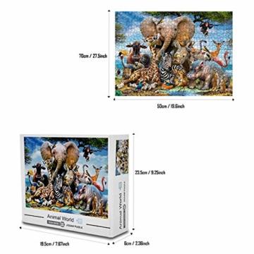 Coolzon Jigsaw Puzzle 1000 Teile, 1000 Stück Puzzles für Erwachsene Kinder Freunde, Intellektuelles Psychedelisches Kartenspiel(Tierwelt) - 4