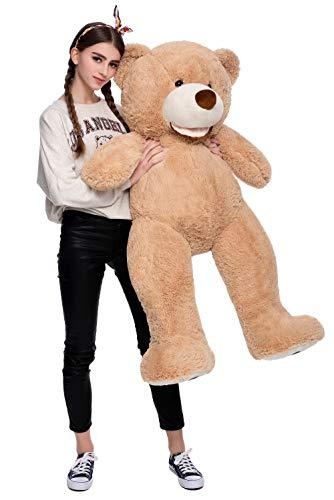 DOLDOA Riesen Teddybär 130cm Groß Plüschbär XXL Teddy Kuschelbär Valentins Geschenk für Freundin Kinder Braun - 2