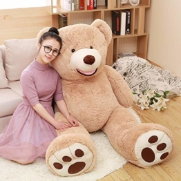 DOLDOA Riesen Teddybär 130cm Groß Plüschbär XXL Teddy Kuschelbär Valentins Geschenk für Freundin Kinder Braun - 1