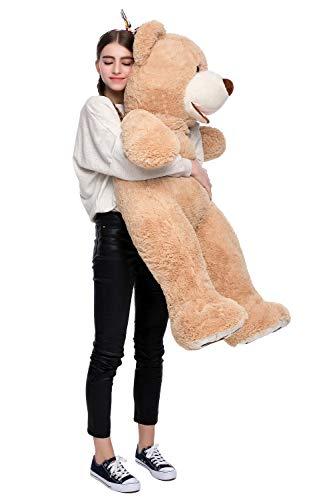 DOLDOA Riesen Teddybär 130cm Groß Plüschbär XXL Teddy Kuschelbär Valentins Geschenk für Freundin Kinder Braun - 4