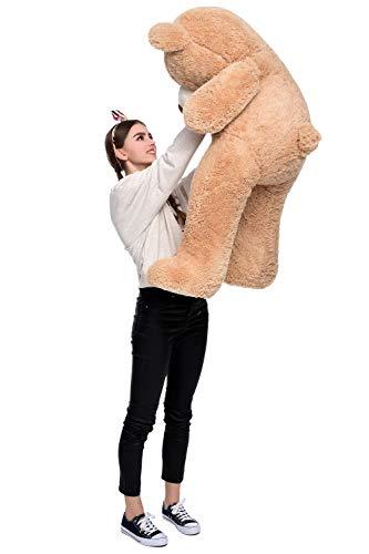DOLDOA Riesen Teddybär 130cm Groß Plüschbär XXL Teddy Kuschelbär Valentins Geschenk für Freundin Kinder Braun - 6
