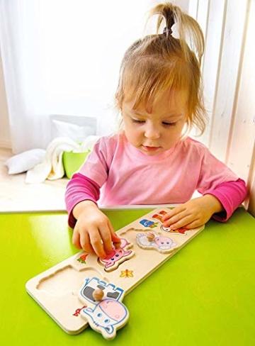HABA 301939 - Greifpuzzle Bauernhof-Tierkinder, 4-teiliges Holzpuzzle mit Tiermotiven und großen Holzknöpfen zum Greifen, Holzspielzeug ab 12 Monaten - 2