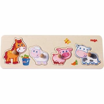 HABA 301939 - Greifpuzzle Bauernhof-Tierkinder, 4-teiliges Holzpuzzle mit Tiermotiven und großen Holzknöpfen zum Greifen, Holzspielzeug ab 12 Monaten - 3