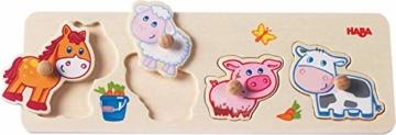 HABA 301939 - Greifpuzzle Bauernhof-Tierkinder, 4-teiliges Holzpuzzle mit Tiermotiven und großen Holzknöpfen zum Greifen, Holzspielzeug ab 12 Monaten - 1