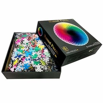 HUADADA Puzzle 1000 Teile ,Puzzle für Erwachsene, Runde Puzzle farbenfrohes Legespiel ,Geschicklichkeitsspiel für die ganze Familie, Regenbogen Puzzle,Erwachsenenpuzzle ab 12 Jahren. - 2