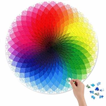 HUADADA Puzzle 1000 Teile ,Puzzle für Erwachsene, Runde Puzzle farbenfrohes Legespiel ,Geschicklichkeitsspiel für die ganze Familie, Regenbogen Puzzle,Erwachsenenpuzzle ab 12 Jahren. - 3
