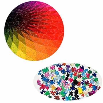 HUADADA Puzzle 1000 Teile ,Puzzle für Erwachsene, Runde Puzzle farbenfrohes Legespiel ,Geschicklichkeitsspiel für die ganze Familie, Regenbogen Puzzle,Erwachsenenpuzzle ab 12 Jahren. - 4