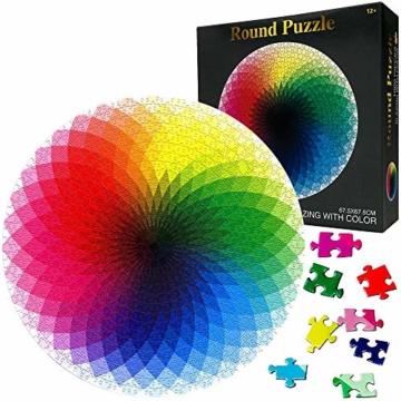 HUADADA Puzzle 1000 Teile ,Puzzle für Erwachsene, Runde Puzzle farbenfrohes Legespiel ,Geschicklichkeitsspiel für die ganze Familie, Regenbogen Puzzle,Erwachsenenpuzzle ab 12 Jahren. - 1