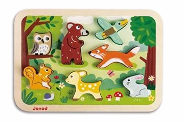 Janod J07023 Chunky Holzfiguren-Puzzle 7 Teile, Wald - 1