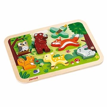 Janod J07023 Chunky Holzfiguren-Puzzle 7 Teile, Wald - 4