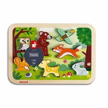 Janod J07023 Chunky Holzfiguren-Puzzle 7 Teile, Wald - 5