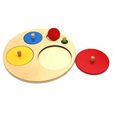 Kalaokei Baby Geometric Shape Match Montessori Wooden Knob Puzzle Pegboard Educational Toy - 2