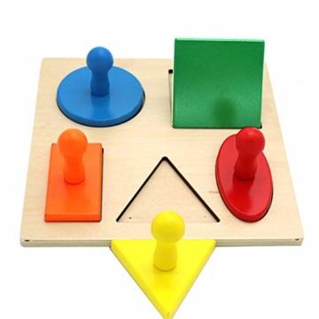 Kalaokei Baby Geometric Shape Match Montessori Wooden Knob Puzzle Pegboard Educational Toy - 3