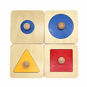 Kalaokei Baby Geometric Shape Match Montessori Wooden Knob Puzzle Pegboard Educational Toy - 1