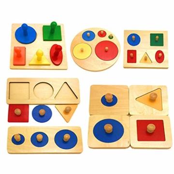 Kalaokei Baby Geometric Shape Match Montessori Wooden Knob Puzzle Pegboard Educational Toy - 5