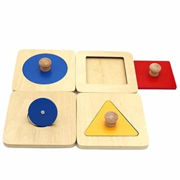 Kalaokei Baby Geometric Shape Match Montessori Wooden Knob Puzzle Pegboard Educational Toy - 7