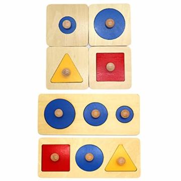 Kalaokei Baby Geometric Shape Match Montessori Wooden Knob Puzzle Pegboard Educational Toy - 8