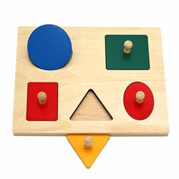 Kalaokei Baby Geometric Shape Match Montessori Wooden Knob Puzzle Pegboard Educational Toy - 9