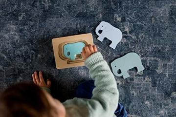 Kindsgut Tier-Puzzle, Lagen-Puzzle, Motorik-Spielzeug aus Holz, praktische Größe für zuhause und unterwegs, Elefant - 2