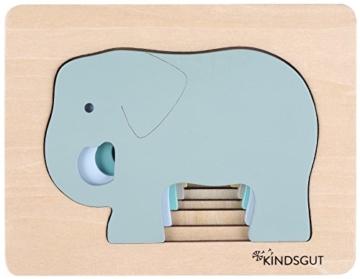 Kindsgut Tier-Puzzle, Lagen-Puzzle, Motorik-Spielzeug aus Holz, praktische Größe für zuhause und unterwegs, Elefant - 3