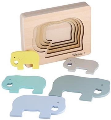 Kindsgut Tier-Puzzle, Lagen-Puzzle, Motorik-Spielzeug aus Holz, praktische Größe für zuhause und unterwegs, Elefant - 1