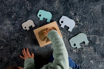 Kindsgut Tier-Puzzle, Lagen-Puzzle, Motorik-Spielzeug aus Holz, praktische Größe für zuhause und unterwegs, Elefant - 5