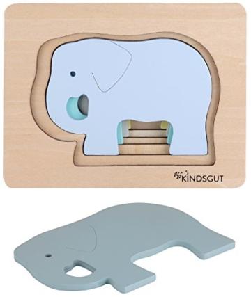 Kindsgut Tier-Puzzle, Lagen-Puzzle, Motorik-Spielzeug aus Holz, praktische Größe für zuhause und unterwegs, Elefant - 6