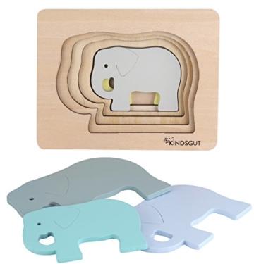 Kindsgut Tier-Puzzle, Lagen-Puzzle, Motorik-Spielzeug aus Holz, praktische Größe für zuhause und unterwegs, Elefant - 7