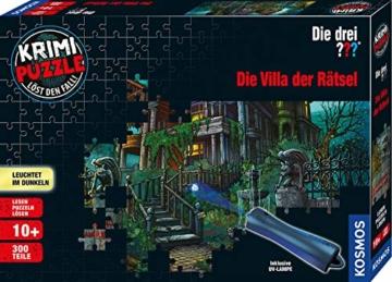 KOSMOS 697976 - Krimi Puzzle: Die drei ??? - Die Villa der Rätsel, Leuchtet im Dunkeln, 300 Teile mit UV-Lampe, Lesen - Puzzeln - Rätsel lösen, für Kinder ab 10 Jahre - 1