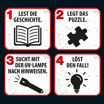 KOSMOS 697976 - Krimi Puzzle: Die drei ??? - Die Villa der Rätsel, Leuchtet im Dunkeln, 300 Teile mit UV-Lampe, Lesen - Puzzeln - Rätsel lösen, für Kinder ab 10 Jahre - 7