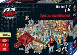 Kosmos 697983 - Krimi Puzzle: Die ??? Kids - Spuk auf dem Schulfest, Leuchtet im Dunkeln, 200 Teile, Lesen - Puzzeln - Rätsel lösen, für Kinder ab 8 Jahre - 1