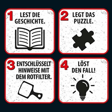 Kosmos 697983 - Krimi Puzzle: Die ??? Kids - Spuk auf dem Schulfest, Leuchtet im Dunkeln, 200 Teile, Lesen - Puzzeln - Rätsel lösen, für Kinder ab 8 Jahre - 4