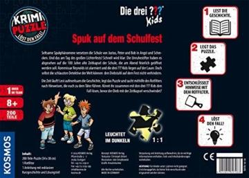Kosmos 697983 - Krimi Puzzle: Die ??? Kids - Spuk auf dem Schulfest, Leuchtet im Dunkeln, 200 Teile, Lesen - Puzzeln - Rätsel lösen, für Kinder ab 8 Jahre - 6