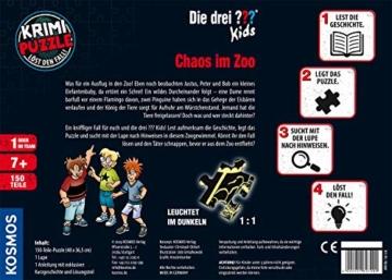 KOSMOS 697990 - Krimi Puzzle: Die ??? Kids - Chaos im Zoo, Leuchtet im Dunkeln. 150 Teile, Lesen - Puzzeln - Rätsel lösen, für Kinder ab 7 Jahre - 3