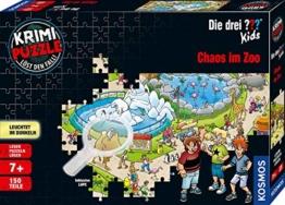 KOSMOS 697990 - Krimi Puzzle: Die ??? Kids - Chaos im Zoo, Leuchtet im Dunkeln. 150 Teile, Lesen - Puzzeln - Rätsel lösen, für Kinder ab 7 Jahre - 1
