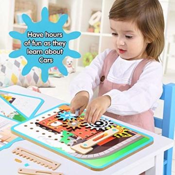 LUKAT Holzpuzzle für Kinder, 3D Holzspielzeug Puzzle von 4 Automuster für Jungen und Mädchen Lernspielzeug Pädagogisches Geschenk für Kinder ab 3 4 5 6 Jahre - 2